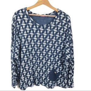 Fresh Produce Printed Navy Blue Boxy Top